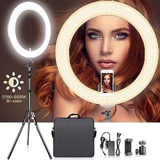 Arisen [最新版リングライト] 直径48cm/18インチ LEDリングライト カメラ写真ビデオ用照明キット 80W 2700K-5500K二色無段階調整 480個の高輝度SMD LED 2Mライトスタンド、Youtube、自撮り撮影、生放...