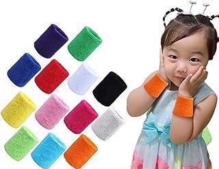 MoonyLI 12 stuks sportarmbanden polsen zweetbanden kinderen kleurrijke sportarmbanden katoen SWE elastische badstof armban...