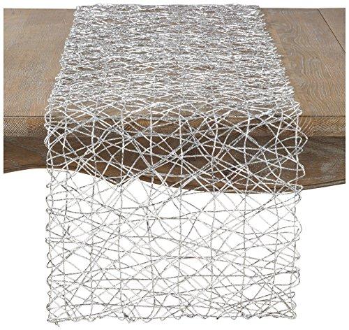 "SARO LIFESTYLE Contempo Nest Table Runner, 16"" x 72"", Silver"