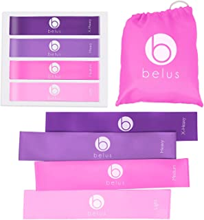Belus Resistance Bands with Carry Bag, Fitness Video Download and Workout eBook. Set of 4..