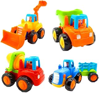 Friction Powered Cars, Push and Go Toy Trucks Construction Vehicles Toys Set for 1-3 Year Old Baby Toddlers- Dump Truck, C...