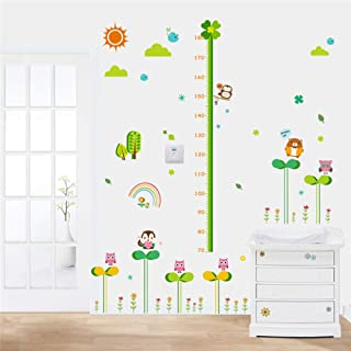 Dingyali 3D Wall Sticker Cartoon Forest Nature Animals Height Measure Wall Stickers Children Height Growth Chart Wall Decals Poster Mural