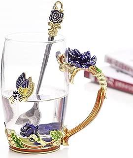 Flower Glass Tea Cups Luxury Upgrade Enamel Glass Coffee Cup Lead-Free Handmade Tea Mug Valentine's Day Present Best Friend Wedding Anniversary Unique Birthday Gifts for Women Mom Girls Grandma(12oz)