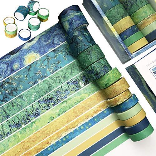 Napacoh 12 Rollen Washi Tape Vintage Set, Dekoratives Klebeband, DIY Papier Tape, Kollektion Für Bastler, Verschönert Journals, Karten Und Scrapbooking - Van-Gogh-Eindruck