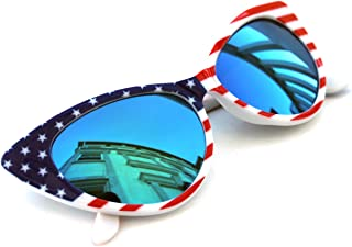 Women/'s Cat Eye Vintage Sunglasses Nikita Large 4th of July American Flag White
