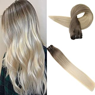 Easyouth Balayage Hair Weft Human Hair Extensions 22 Inch Color 8 Fading to 60 White Blond Balayage Color 100 Gram per Pack Brown Roots Ombre Sew in Extensions Human Hair