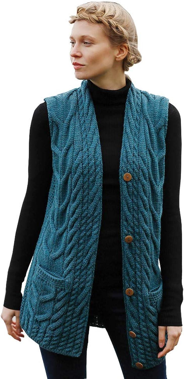 Irish Aran Knitwear   Super Soft VNeck Waistcoat B850   100% Merino Wool