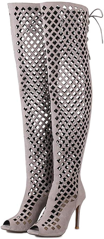 Hoxekle Women Knee High Thin High Heel Boot Winter Fashion Sexy Female Long Boots Ribbon Zipper Peep Toe