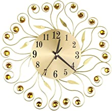 ShiSyan Wall Clocks 3D wall clock, round crystal metal wall clock, dial with Arabic numerals, decorative clock for living ...