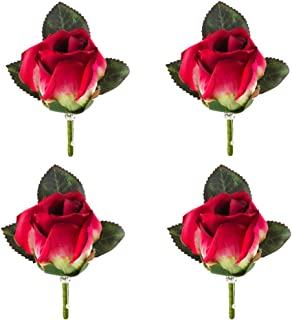 Set of 4 Rose Boutonniere With Pin For Men Wedding Prom Party Corsage Silk Flower For Groom,Best Man,father