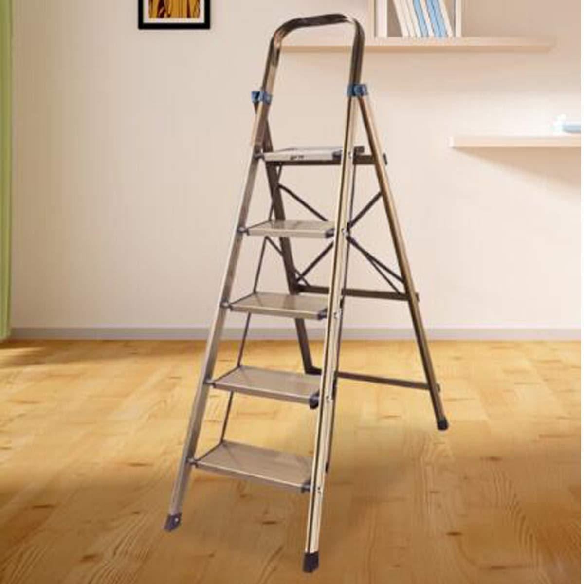 Nuoyun Escalera Plegable, Escalera doméstica de Cinco Pasos, Escalera Plegable Gruesa, Escalera de ingeniería de un Solo Lado, Escalera telescópica, Escalera de Acero, Escalera de Aluminio: Amazon.es: Hogar