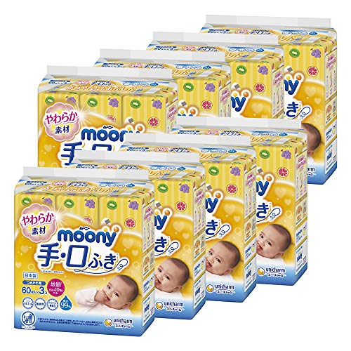Moonie Hand Wipes, 1,440 Sheets (60 Sheets x 3 Ps x 8 Pieces) [Case Product]