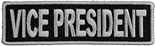 Vice President Patch 3.5 Inch White - 3.5x1 inch. Embroidered Iron on Patch