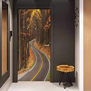 Onefzc Soliciting Sticker for Door Fall Curvy Roadway Through The Forest Great Smokey Mountains Change of Seasons Traveling Mural Wallpaper W23.6 x H78.7 Multicolor