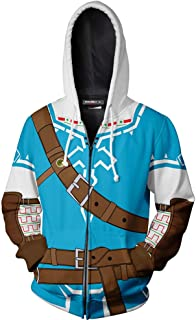 PartyCos Mens 3D Printed Link Hoodie Hyrule Warriors Zip Up Jacket Anime Games Cosplay Costumes