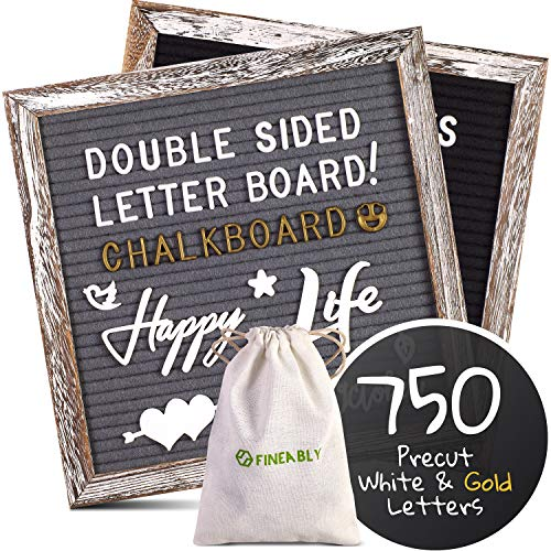 Dual Sided Felt Letter Board with Letters by Fineably, 750 Precut White and Gold Letters, Numbers and Emoji Symbols, Leave Inspiring Messages, Class Announcements or Cafe Menus