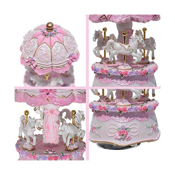 ACCOCO Carousel Music Box Luxury Color Change LED Light Luminous Rotating 3-Horse Carousel Horse Music Box Melody… 6