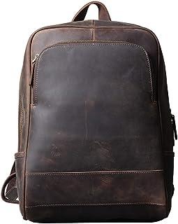 Business Laptop Backpack,Mochilas vintage Bolso para portátil de cuero para hombre Mochilas unisex Bolsos casuales de cuero Mochila de hombro para la universidad Escuela Viajes Senderismo Unisex
