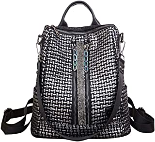 Zjnhl Leisure Bag Colorful Chain Retro Backpack Female Wild Diamond Studded Soft Leather Women's Backpack (Color : Silver, Size : 30 * 16 * 32cm)