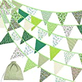 Ropniik Banderines de Tela de 40 pies con diseño Floral Vintage Reutilizable triángulo Bandera Guirnalda decoración banderines para Bodas, Fiestas de cumpleaños(Verde)