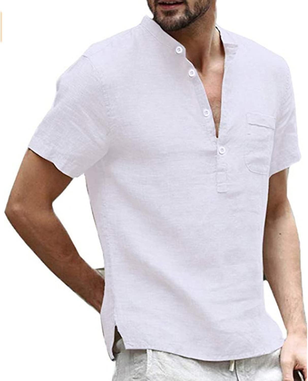 Men's Regular Fit Linen Henley Casual Import Sleeve Sale Summer Short Shirts