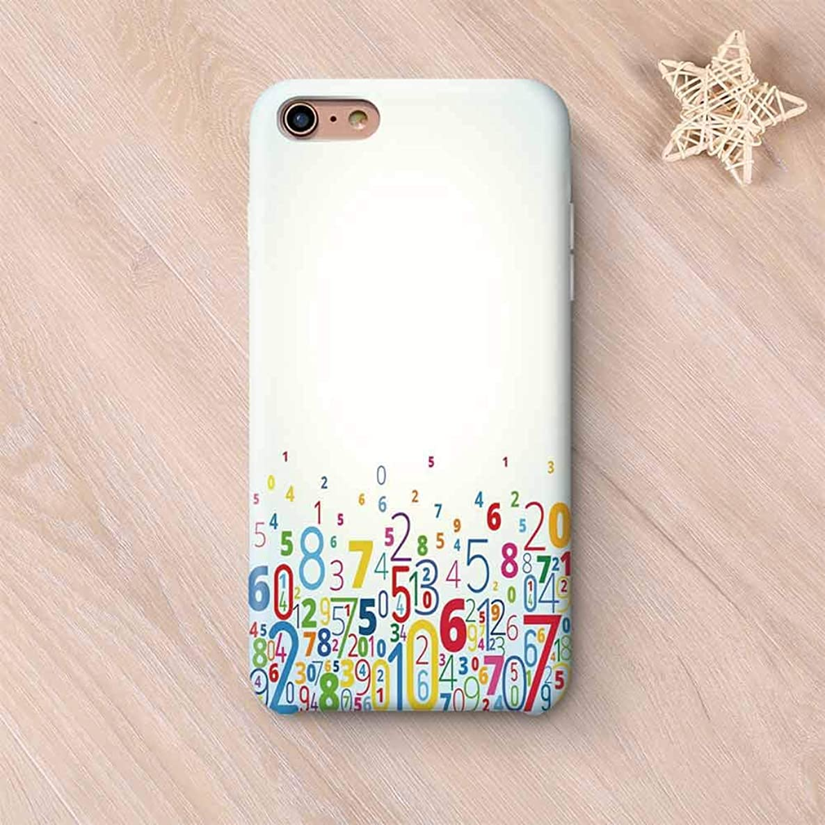 Mathematics Classroom Decor Wear Resisting Compatible with iPhone Case,Rainbow Colored Digits Algebra Math Figures Learning Counting Decorative Compatible with iPhone 7/8,iPhone 6 Plus / 6s Plus