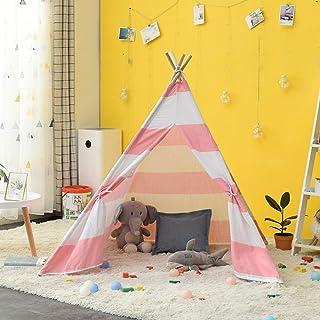 Teepee tält för barn/flicka lek tältleksaker för flickor/pojkar Tipi-tält inomhus och utomhus, naturlig bomullsduk barn in...