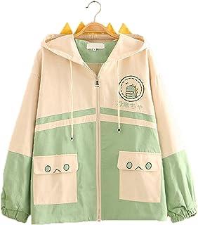Kawaii Clothes - Sudadera con capucha para gatos con orejas, diseño de anime japonés, manga larga, con bolsillo para mujer...