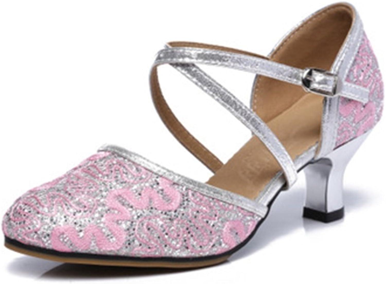 GIY Women's Glitter Lace Latin Salsa Tango Dance shoes Ballroom Morden Outdoor Adult Heel Dancing Sandals