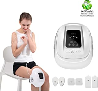 HEZHENG Cordless Knee Massager, Heated Air Pressure Vibration Compression Knee Brace Electronic Pulse Massager with 6 Pads for Pain Relief Therapy