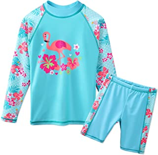 Girls Swimsuit UPF 50+ UV Two Piece Long Sleeve Swimwear Rash Guard Sets 3-12Y