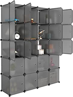 LANGRIA 20 Cube Organizer Stackable Plastic Cube Storage Shelves Design Multifunctional Modular Closet Cabinet with Hanging Rod for Clothes Shoes Toys Bedroom Living Room (Transparent Gray)