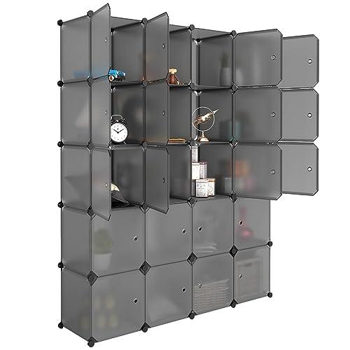 LANGRIA 20 Cube Organizer Stackable Plastic Cube Storage Shelves Design  Multifunctional Modular Closet Cabinet With Hanging