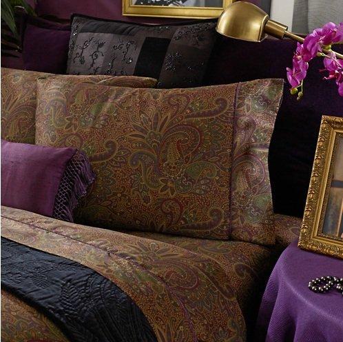 Ralph Lauren New Bohemian Paisley Burgundy Queen Flat Sheet