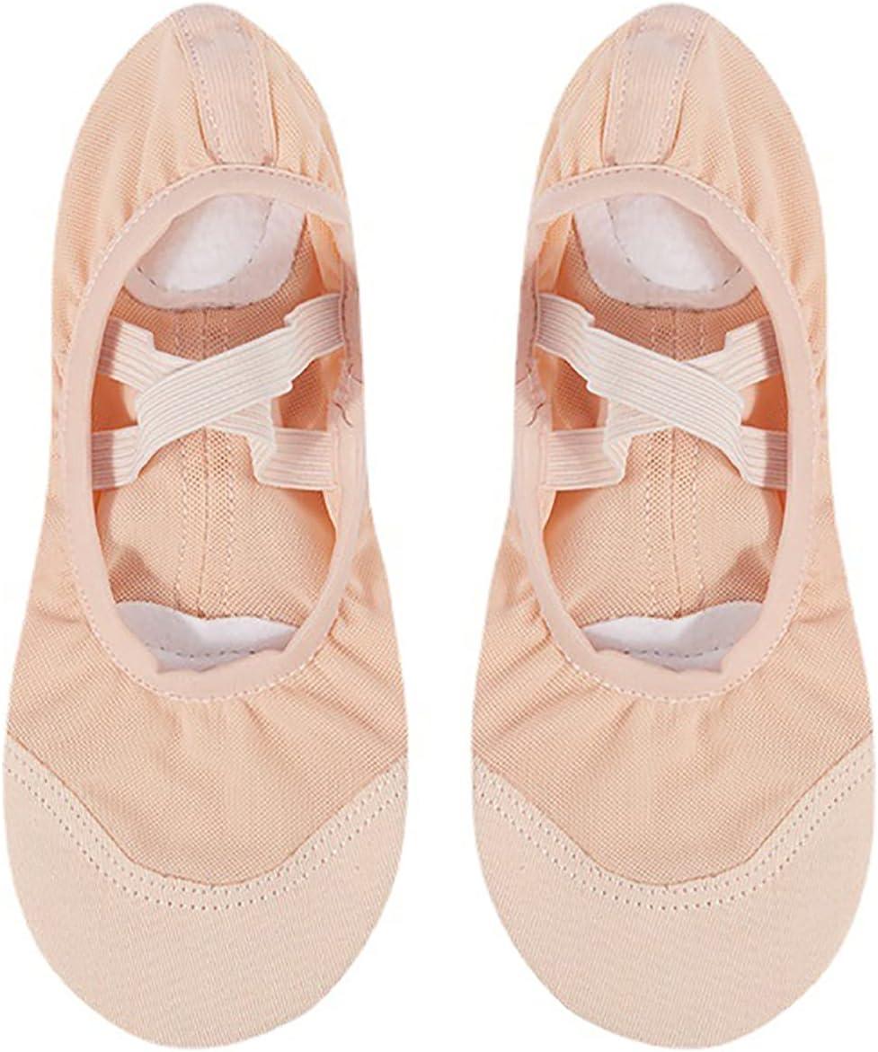 JIAYU Women Ballet Shoes Leather Ballet Flats Split Sole Dance Canvas Slippers for Ladies (Color : Beige, Size : 40)