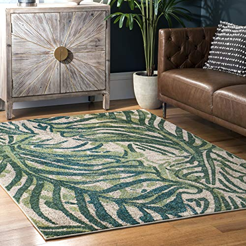 """nuLOOM Cali Abstract Leaves Area Rug, 5' 3"""" x 7' 7"""", Green"""