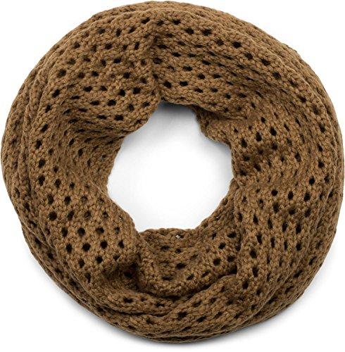 styleBREAKER gebreide lus sjaal met gatenpatroon, effen gat gebreide buis sjaal, winter gebreide sjaal, Uniseks 01018156