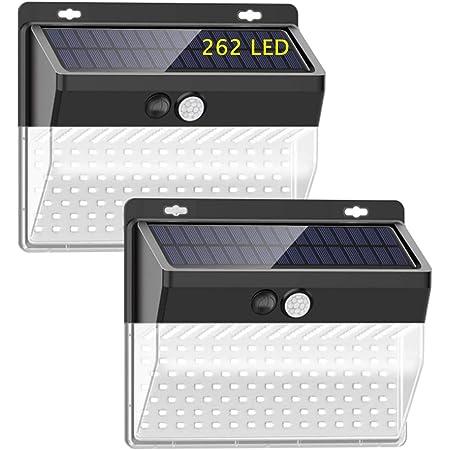 LED Luz Solar de Exterior, Luces Solares 262 LED Paquete de 2, Lámpara Solar Exterior con Sensor de Movimiento, 3 Modos,IP65 Impermeable,para Jardín, Patio, Terraza, Camino(2PACK)