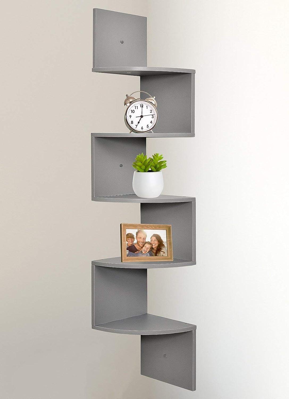 Greenco 5 Tier Wall Mount Gray Corner Shelves テレビで話題 新生活 Finish