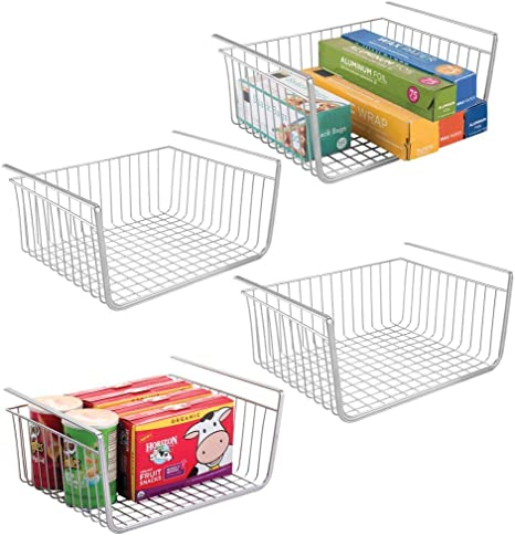 Amazon Com Mdesign Household Metal Under Shelf Hanging Storage Bin Basket With Open Front For Organizing Kitchen Cabinets Cupboards Pantries Shelves Large 4 Pack Chrome Home Kitchen