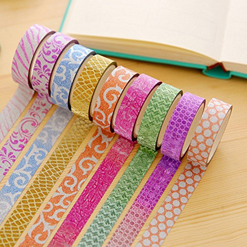 Kalaixing decorativo Washi Rainbow Sticky Paper Masking adhesive tape scrapbooking DIY -- 10 diversi colori
