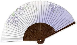 扇子 高級絵付扇子 日本製 唐木中彫 紺パール地 藤 香り付き