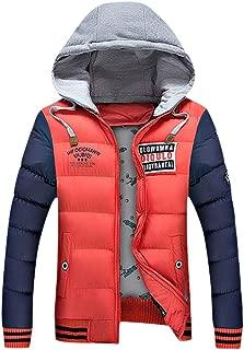 Mens Winter Coat Zipped Tracksuit Casual Patchwork Long Sleeve Down Alternative Hooded Outwear Beautyfine