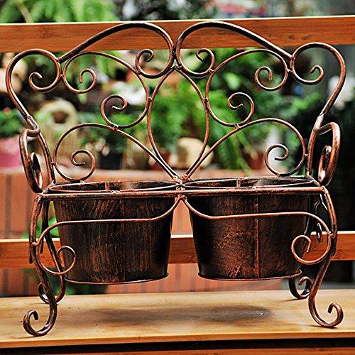 LLLXUHA Art de Fer Accueil Papillon Support de Fleurs, Simple Rétro Bureau Présentoir, intérieur Balcon Succulentes Bonsai Cadre, Copper, 35 * 35cm