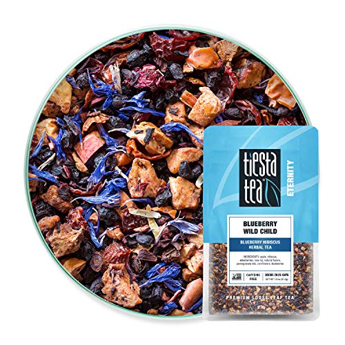 Tiesta Tea - Blueberry Wild Child, Loose Leaf Blueberry Hibiscus Herbal Tea, Non-Caffeinated, Hot & Iced Tea, 1.8 oz Pouch 20-25 Cups, Natural Flavors, Herbal Tea Loose Leaf Blend