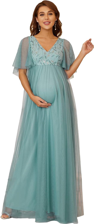 Ever-Pretty Women's Short Sleeve V-Neck Tulle Long Maternity Dress for Baby Shower 20811