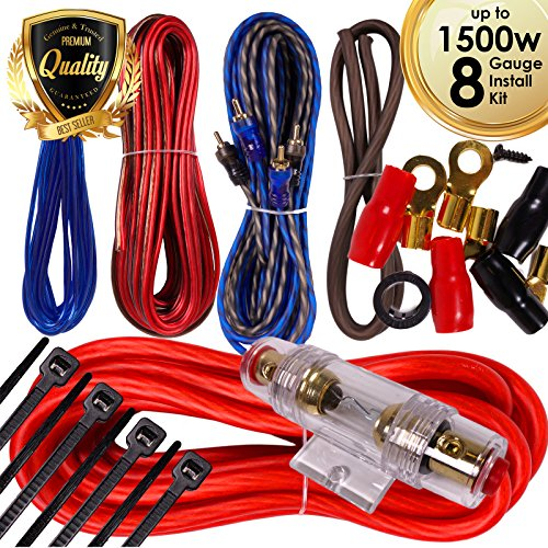 Complete 1500W Gravity 8 Gauge Amplifier Installation Wiring Kit Amp Pk3 8 Ga Red - for Installer and DIY Hobbyist - Perfect for Car/Truck/Motorcycle/Rv/ATV