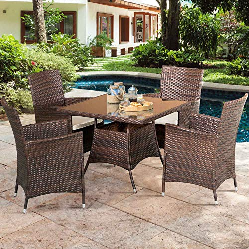 SOLAURA 5 Pieces Patio Dining Table Set Brown Wicker Outdoor Dining Chairs Patio Garden Set for Garden, Lawn, Balcony and Swimming Pool Side(Square)