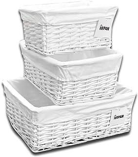 ARPAN - Juego de 3 cestas de Mimbre de Color Blanco con