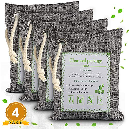 Nigecue Bamboo Charcoal Air Purifier Bags (4 Pack), Natural Freshener Activated Charcoal Odor Eliminators for Home Car Shoes Pets Closet, Removes Odor & Moisture